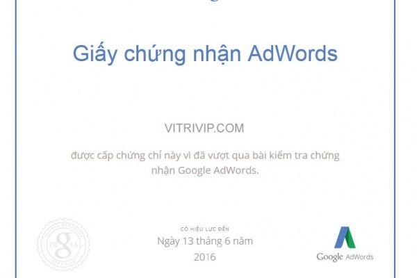 Giay chưng nhan Google Adwords